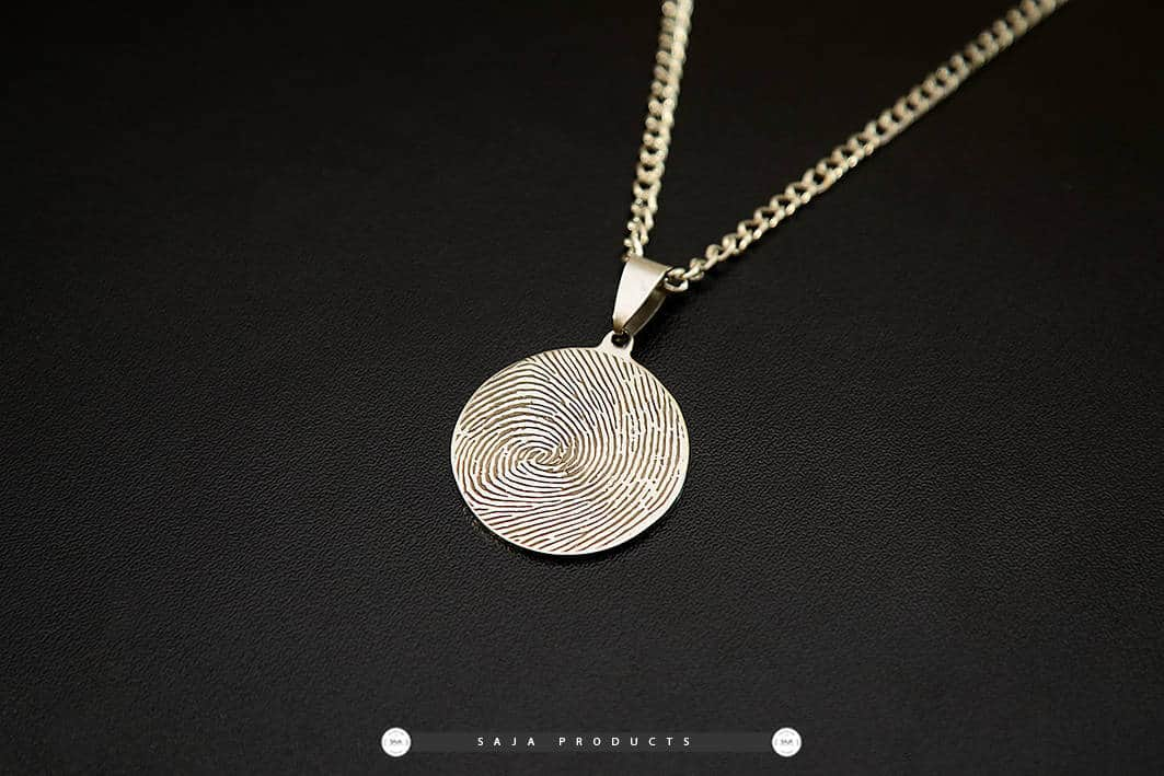 products necklace heart disc personalised fingerprint